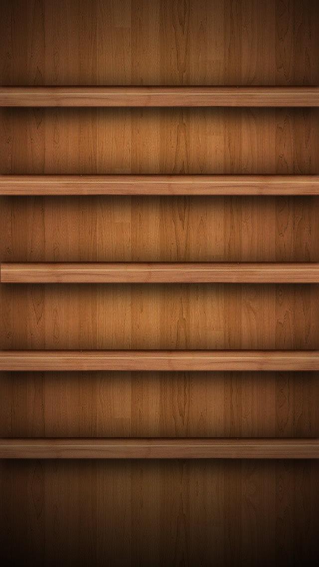 本棚風iPhone5 スマホ用壁紙