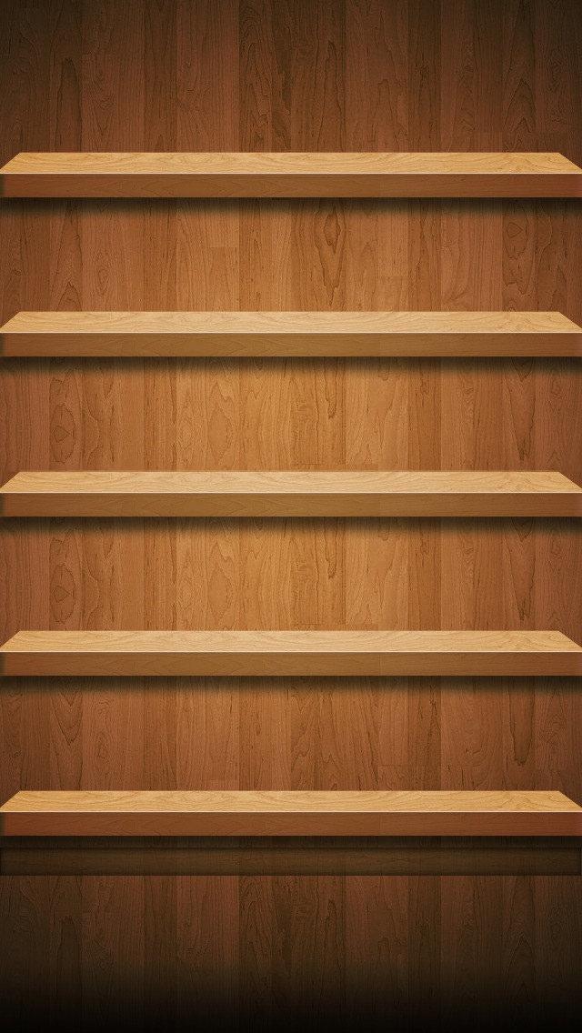 クラシックなウッド棚 iPhone5 スマホ用壁紙