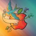 青い鳥とアップルロゴ iPhone5 スマホ用壁紙