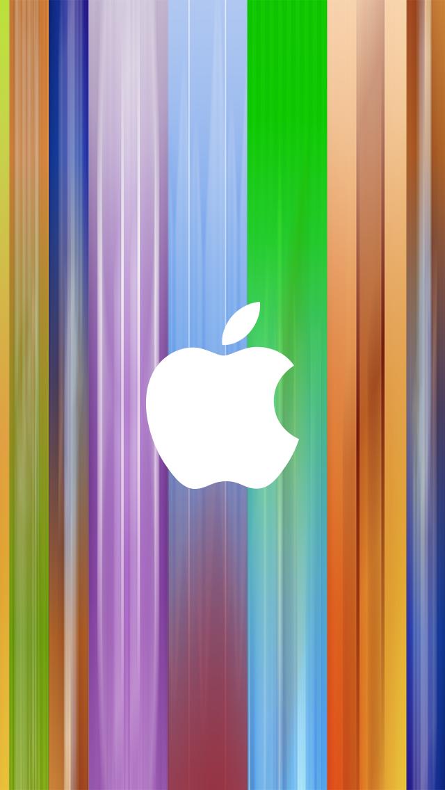 グラデーションのアップルロゴ iPhone5 スマホ用壁紙