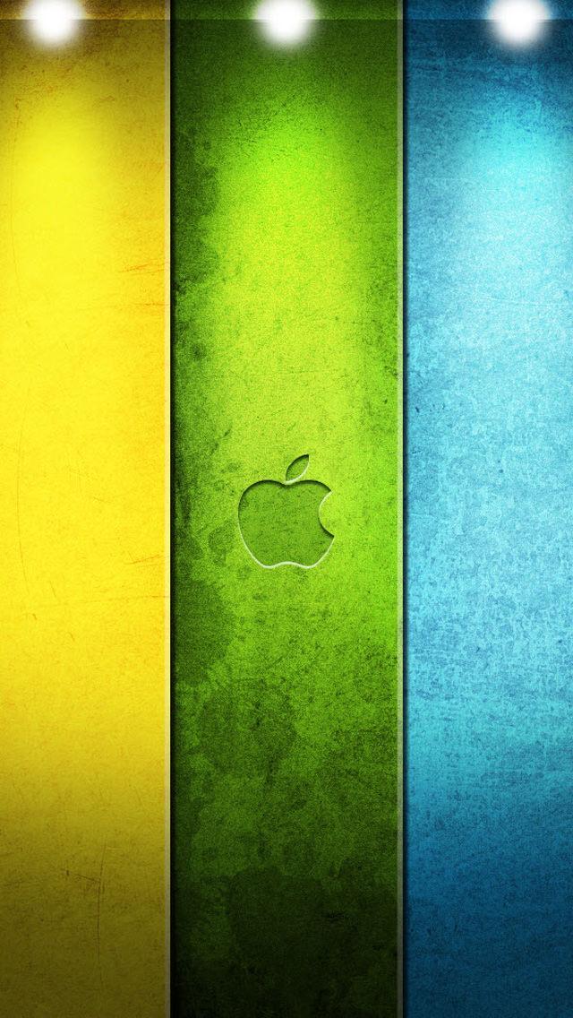 3色カラーのアップルロゴ iPhone5 スマホ用壁紙