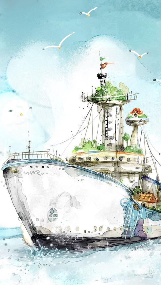 大海原への出航 iPhone5 スマホ用壁紙