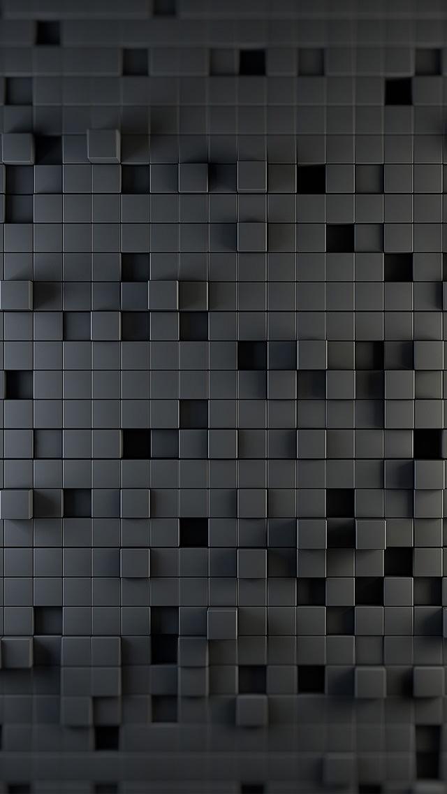 黒のタイル状のiPhone5 スマホ用壁紙