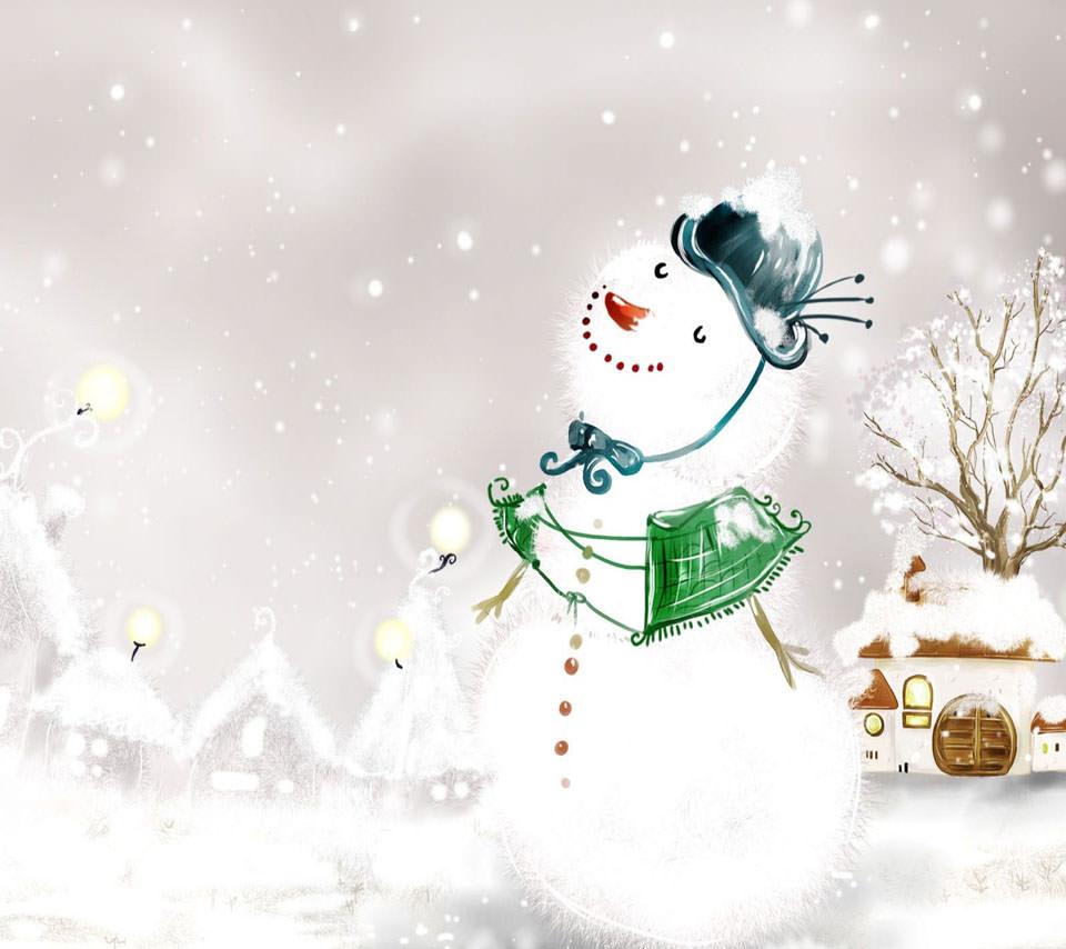 雪だるま Androidスマホ用壁紙