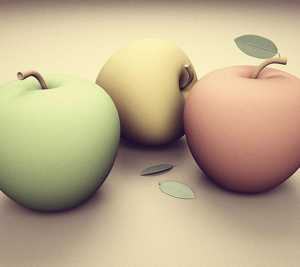 カラフルなリンゴ Androidスマホ用壁紙