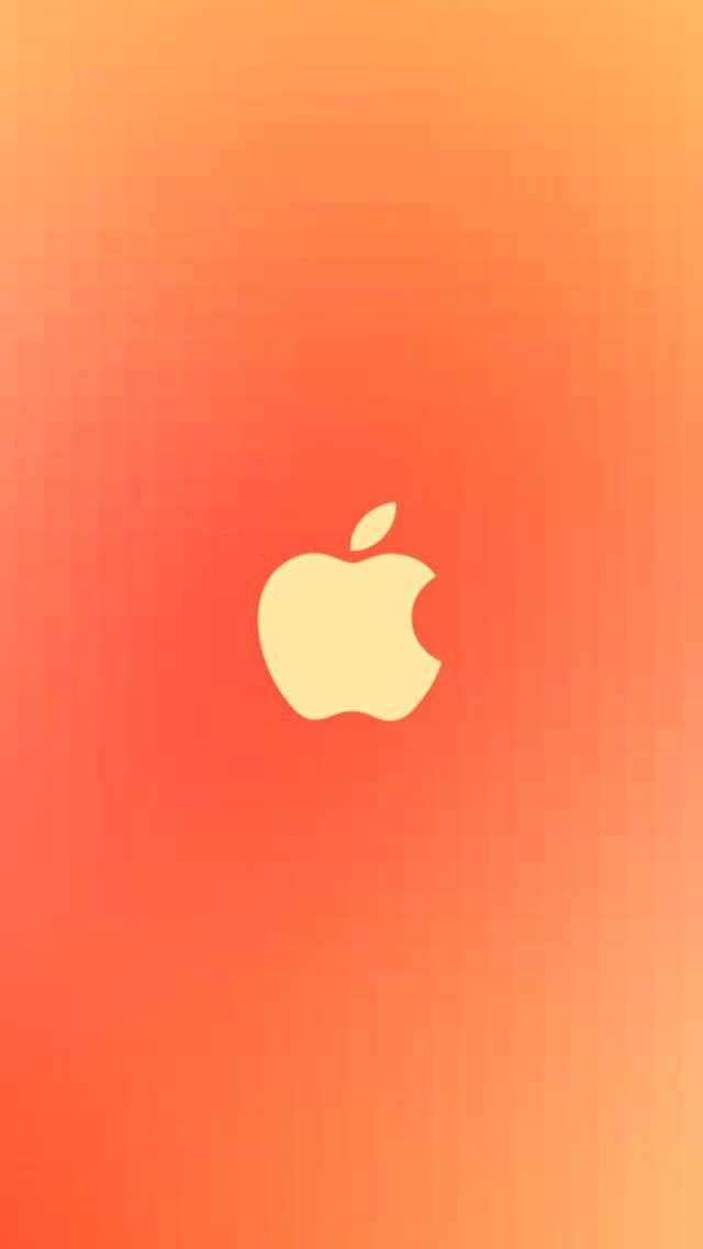 オレンジのAppleロゴ iPhone5 スマホ用壁紙