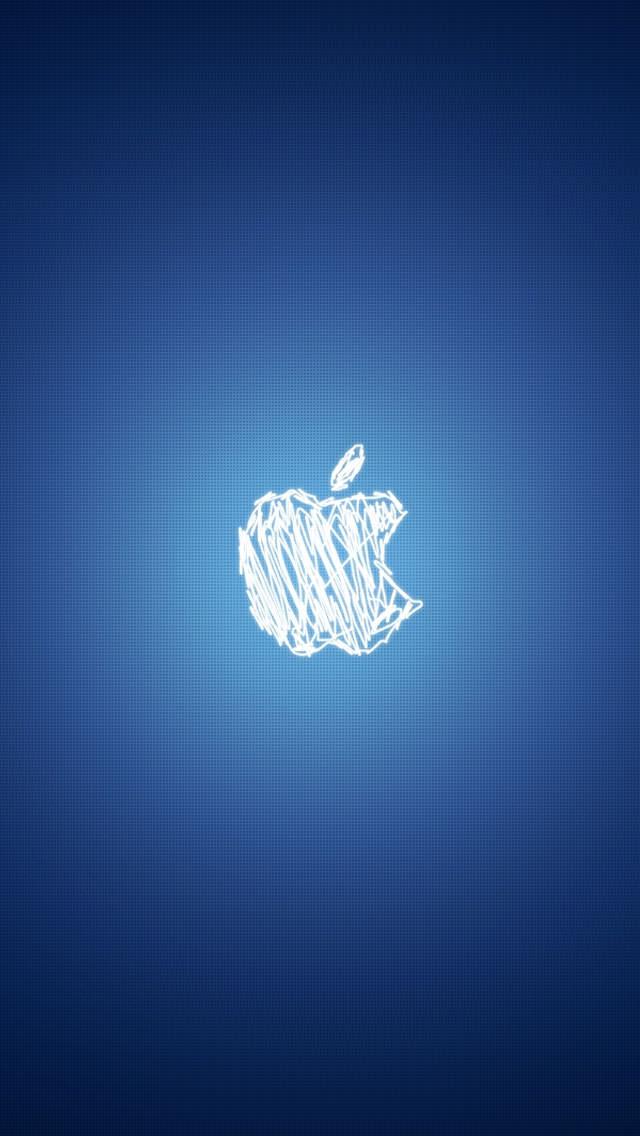 手書き風Appleロゴ iPhone5 スマホ用壁紙