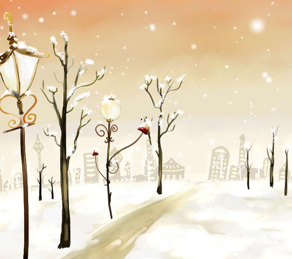 冬の街灯 Androidスマホ用壁紙