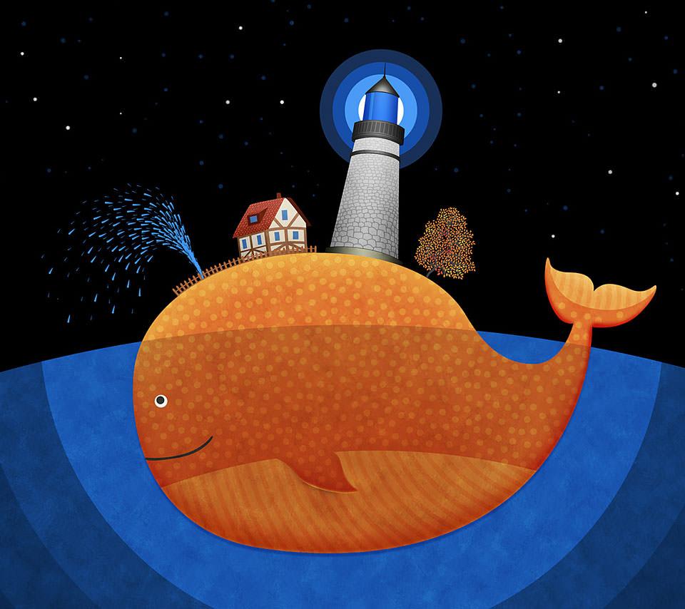 クジラの街 Androidスマホ用壁紙