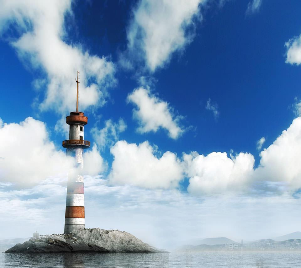 岬の灯台 Androidスマホ壁紙