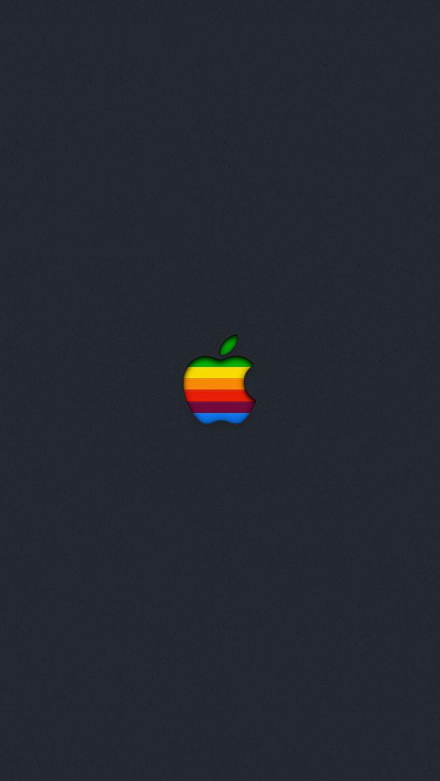 レインボーカラーのAppleロゴ iPhone5 スマホ用壁紙
