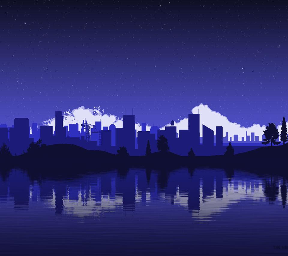 夜の都会のイラスト Androidスマホ壁紙