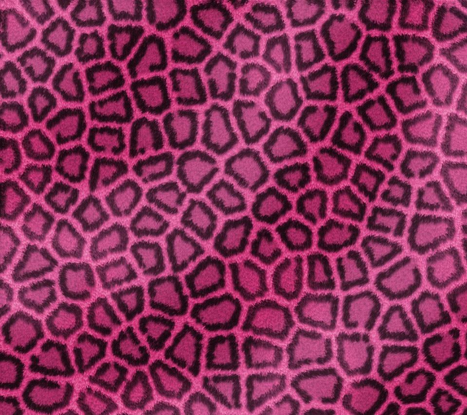 ピンクのフワフワ豹柄 Androidスマホ壁紙