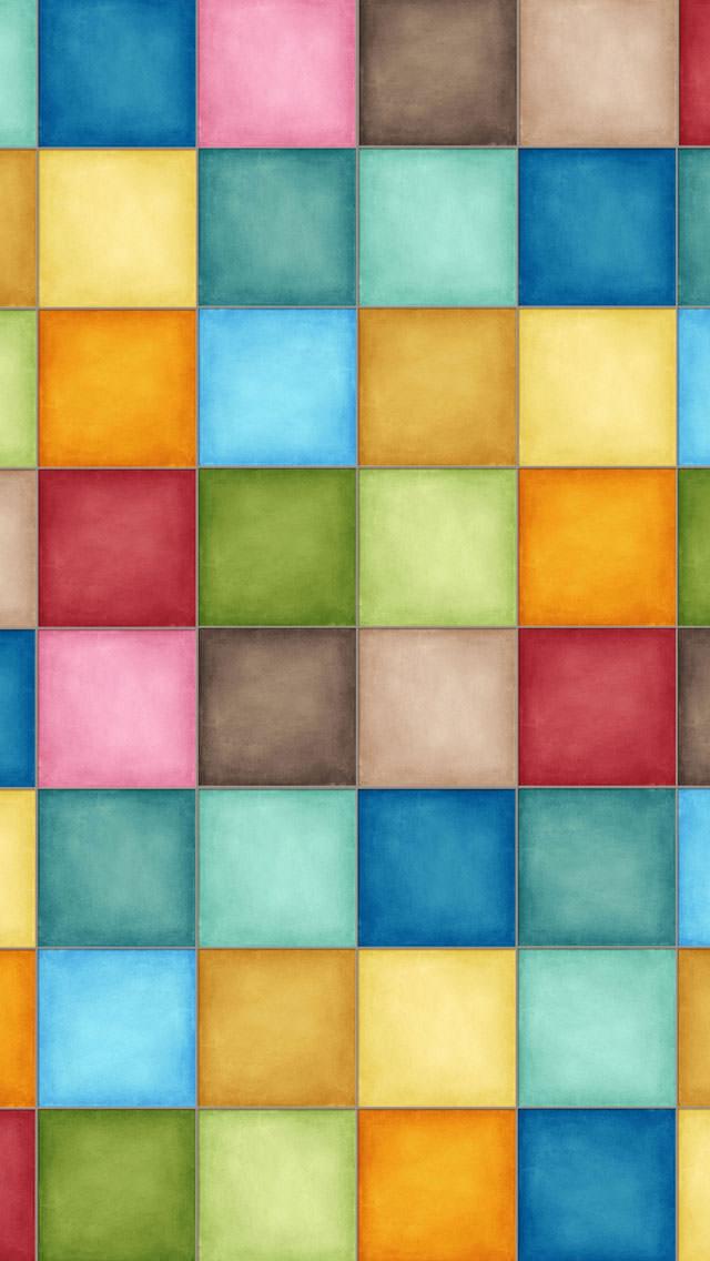 パステル・タイル iPhone5 スマホ用壁紙
