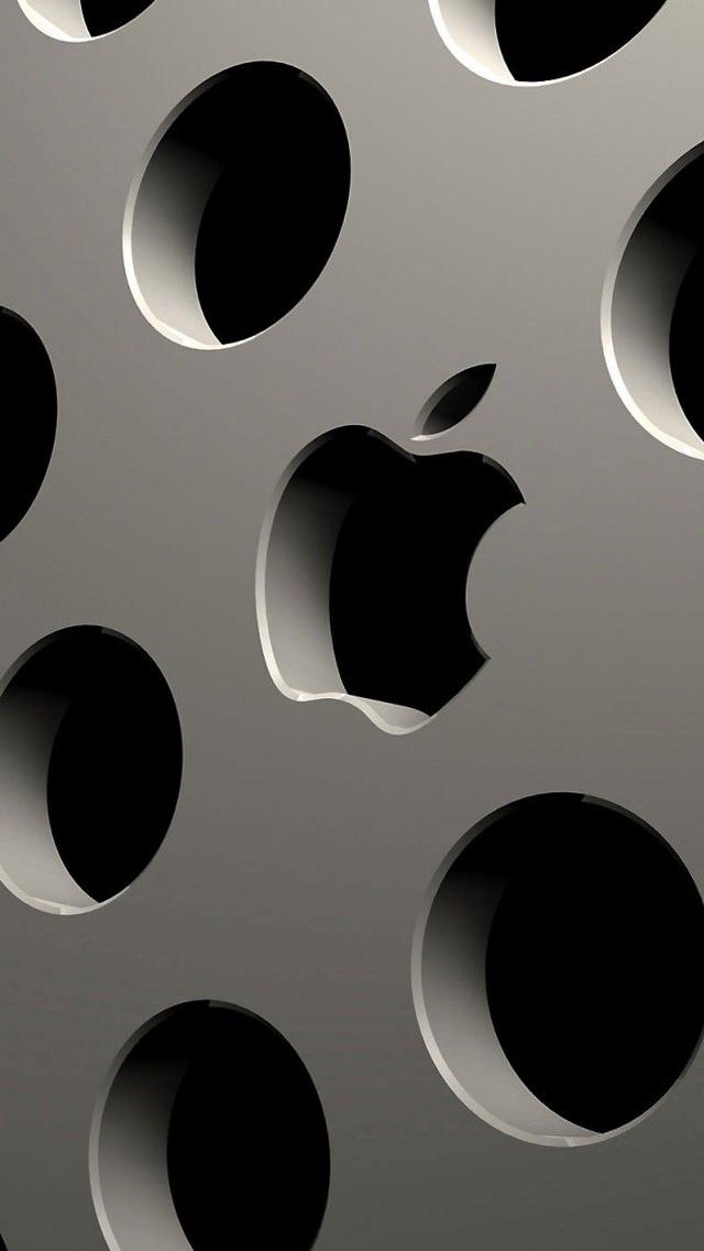 穴の開いたアップルロゴ iPhone5 スマホ用壁紙