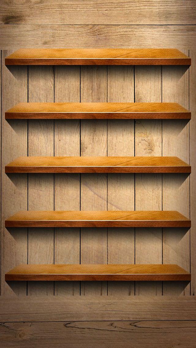 クラシックな木目調の棚 iPhone5 スマホ用壁紙
