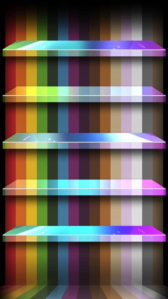 カラフルで派手な棚 iPhone5 スマホ用壁紙