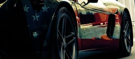 星条旗のついた車 Androidスマホ壁紙