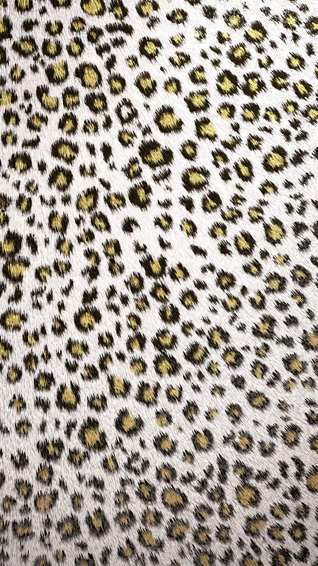 白の豹柄 iPhone5 スマホ用壁紙
