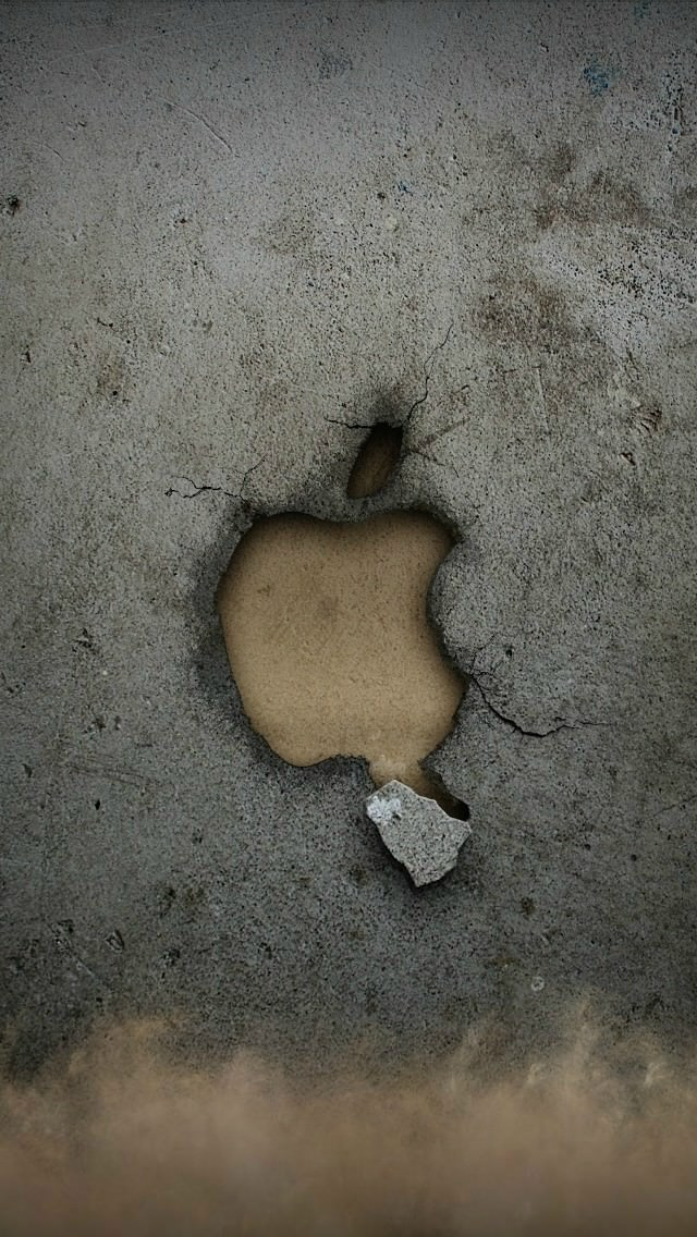 朽ち落ちるAppleロゴ iPhone5 スマホ用壁紙