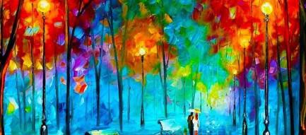 街路樹の油絵 スマホ壁紙