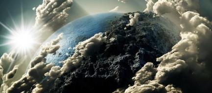 噴煙舞う地球 スマホ壁紙