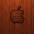 ウッド調のアップルロゴ iPhone5 スマホ用壁紙