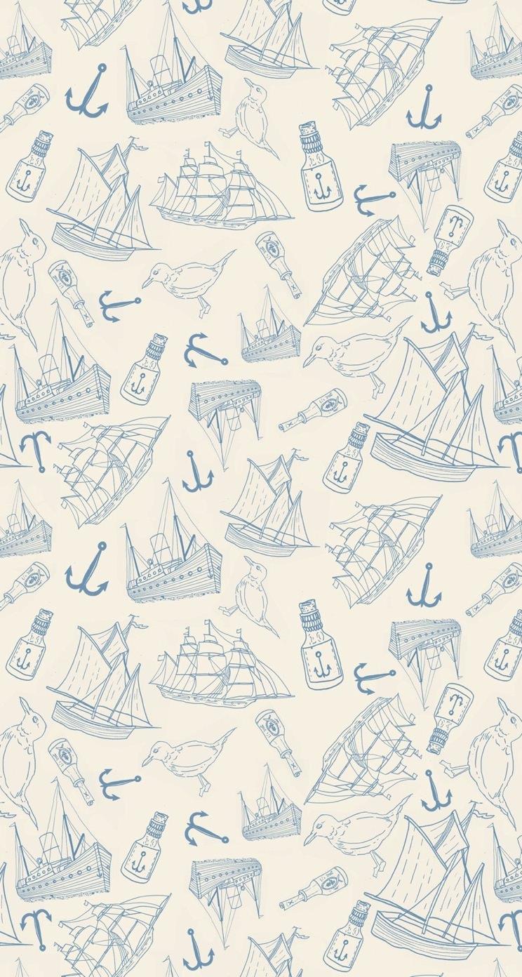 オシャレな海洋系イラスト iphone5 スマホ用壁紙 | wallpaperbox