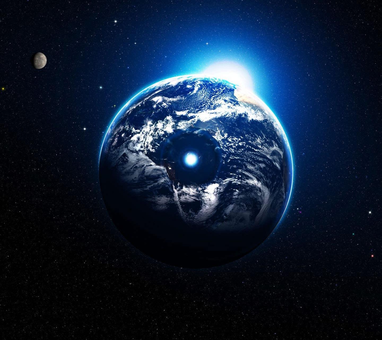 後光が射す地球 Androidスマホ用壁紙