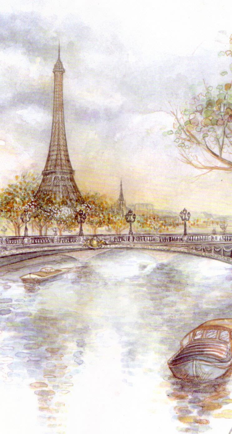 パリの絵葉書 iPhone5 スマホ用壁紙