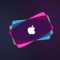 Purple Apple Logo iPhone5 スマホ用壁紙