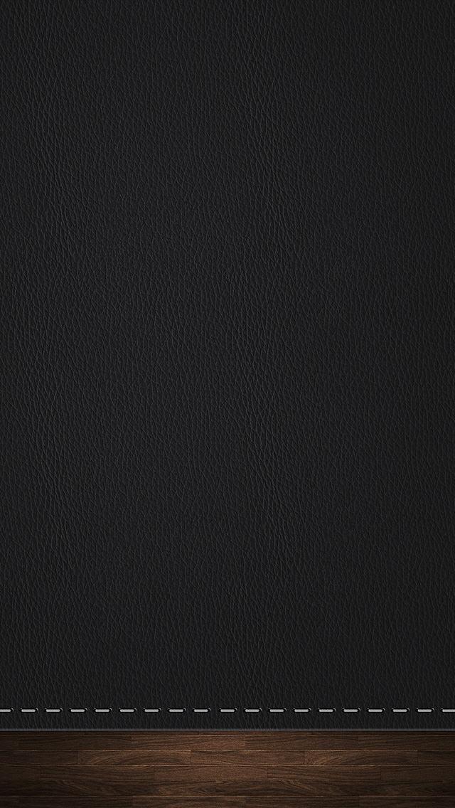 黒のレザー調のiPhone5 スマホ用壁紙