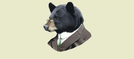 渋いクマのイラスト iPhone5 スマホ用壁紙