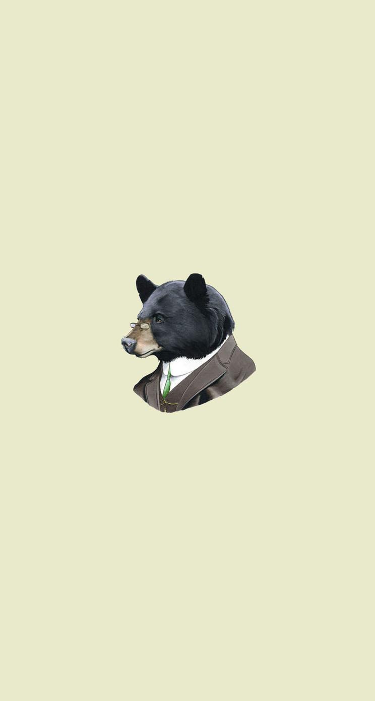 渋いクマのイラスト iphone5 スマホ用壁紙 | wallpaperbox