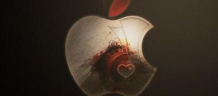 落ち着いた印象のアップルロゴ iPhone5 スマホ用壁紙