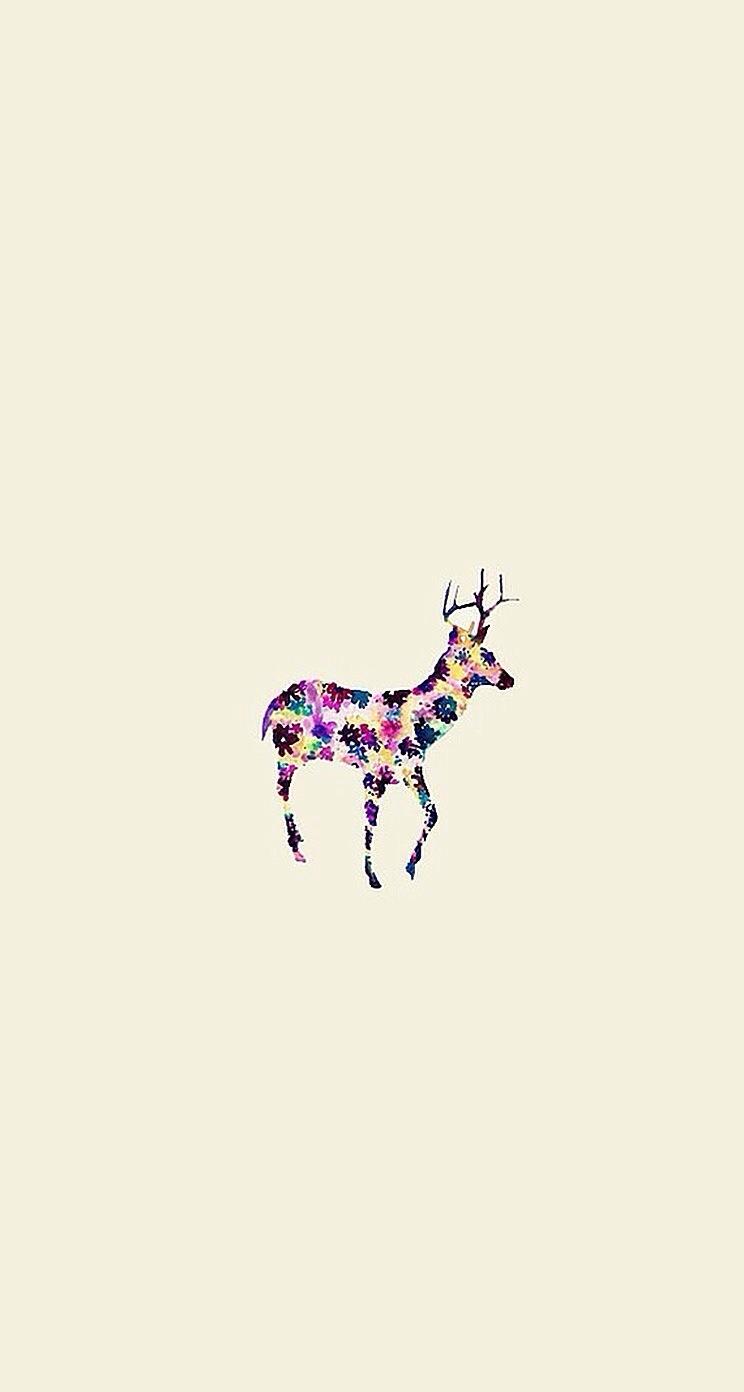 かわいい鹿のイラスト iPhone5 スマホ用壁紙