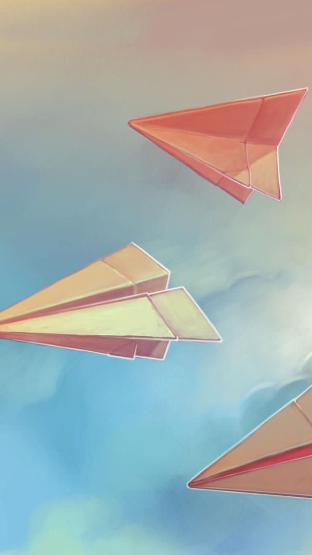 空に舞う紙飛行機 iPhone5 スマホ用壁紙