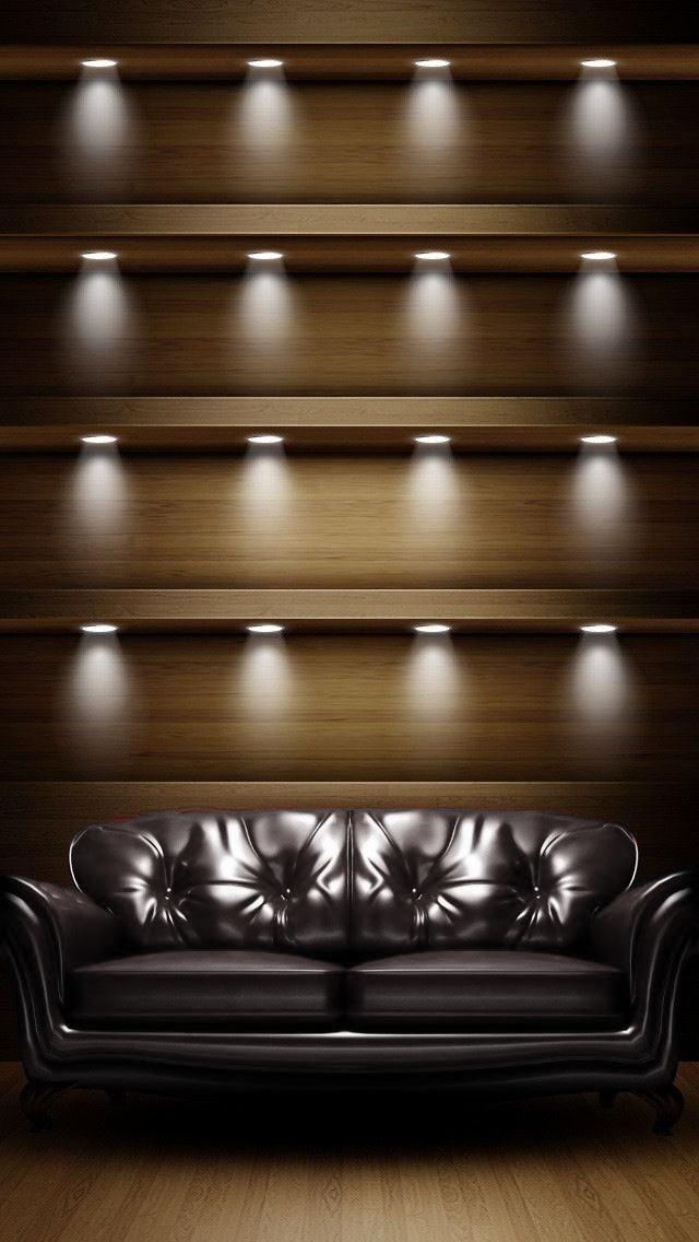 棚とソファー iPhone5 スマホ用壁紙