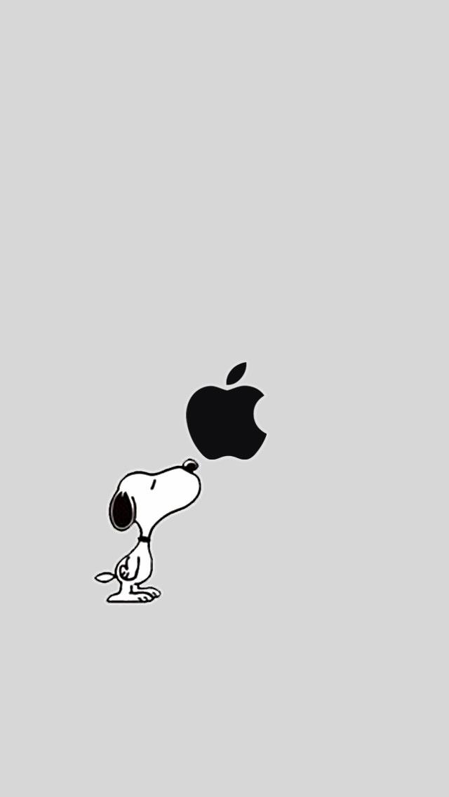 スヌーピーとアップルロゴ iPhone5 スマホ用壁紙