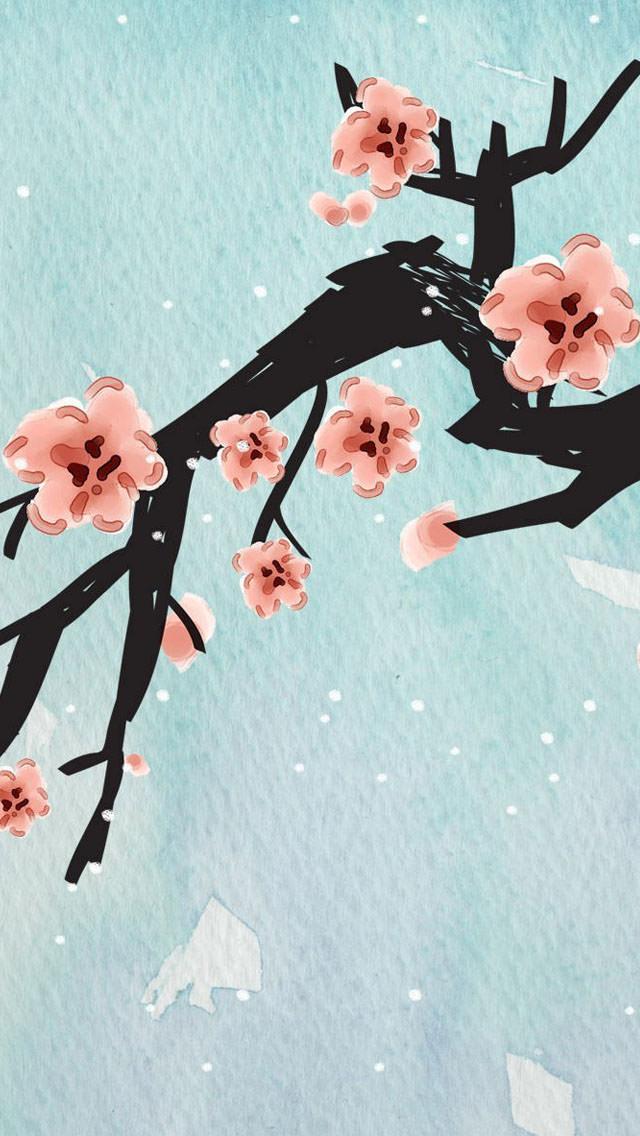 梅の花のイラスト iPhone5 スマホ用壁紙