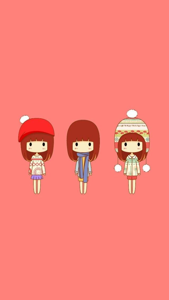 3人の女の子 iPhone5 スマホ用壁紙