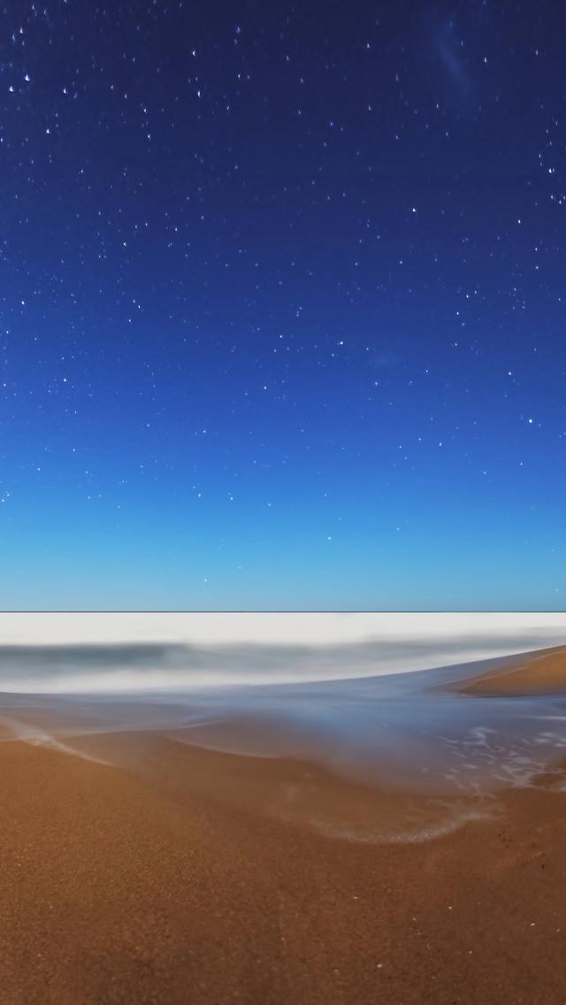 銀河と海 iPhone5 スマホ用壁紙
