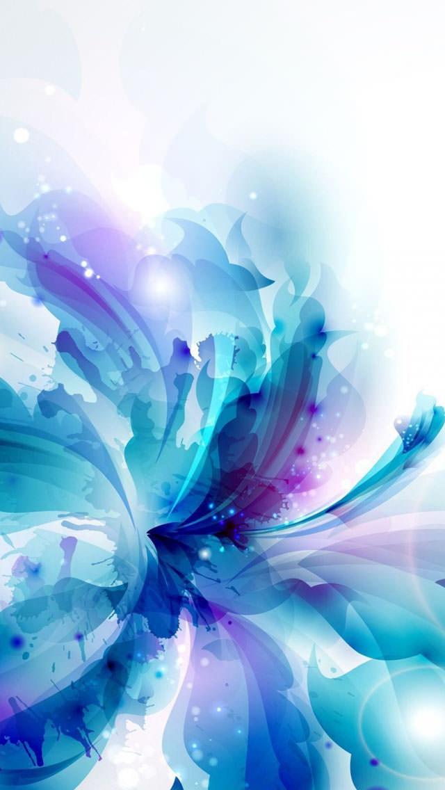 青いハイビスカス iPhone5 スマホ用壁紙