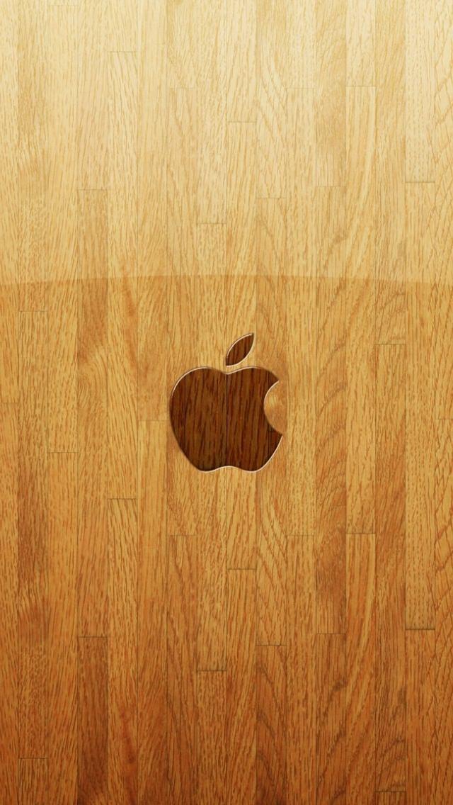 綺麗なウッド調のアップルロゴ iPhone5 スマホ用壁紙