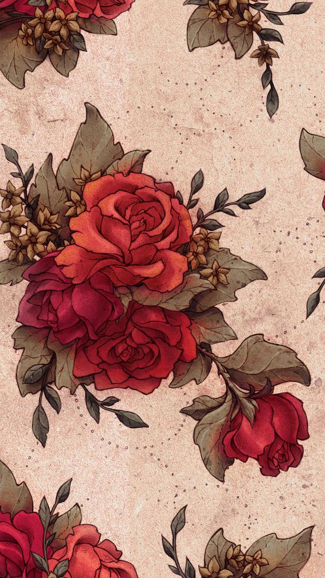 赤い薔薇のイラスト iPhone5 スマホ用壁紙