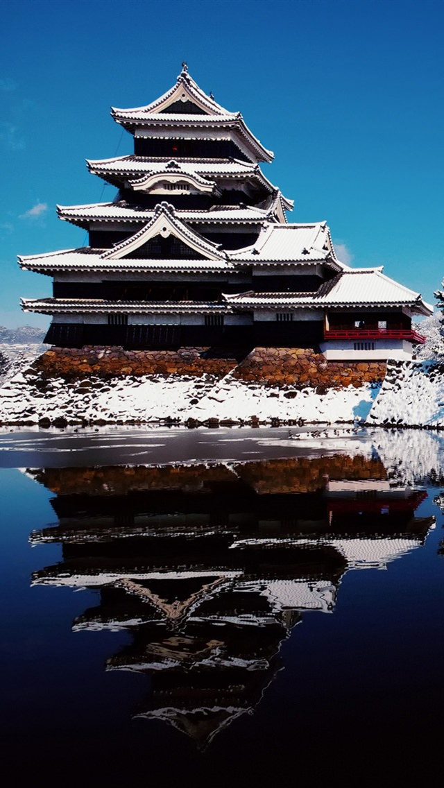 冬の城 iPhone5 スマホ用壁紙