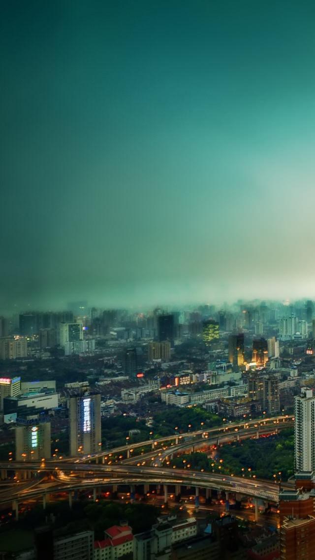 上海の夜景 iPhone5 スマホ用壁紙