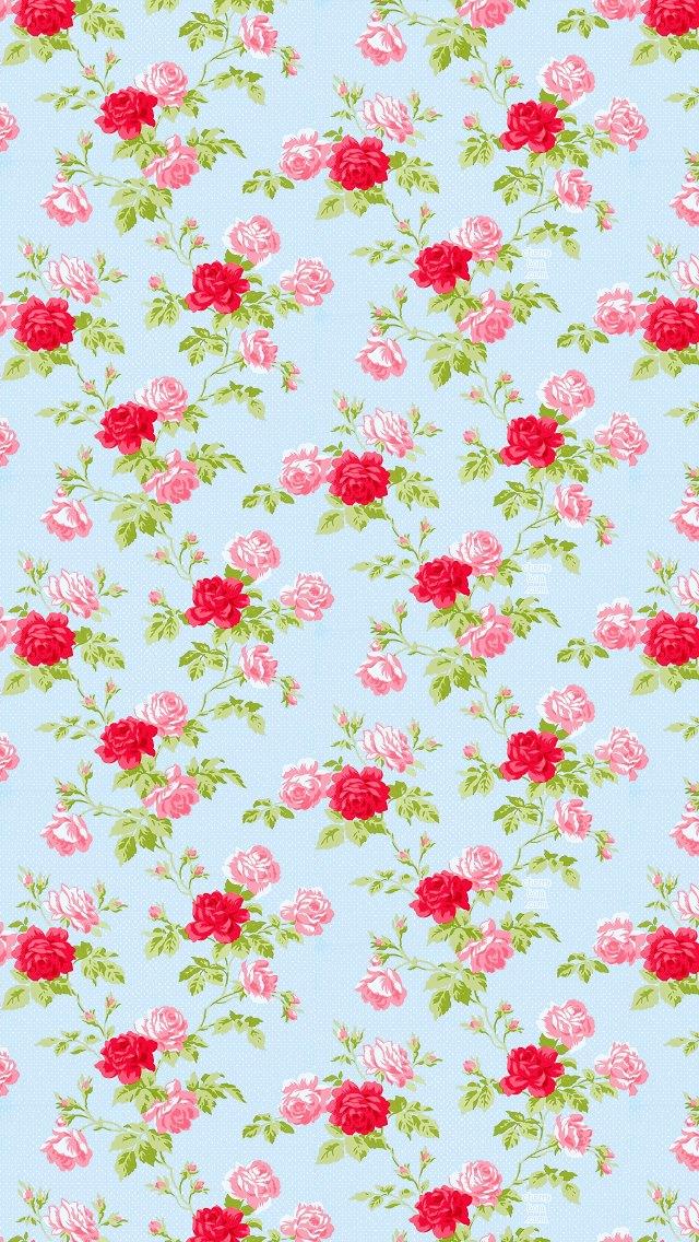 かわいい薔薇のパターン iPhone5 スマホ用壁紙