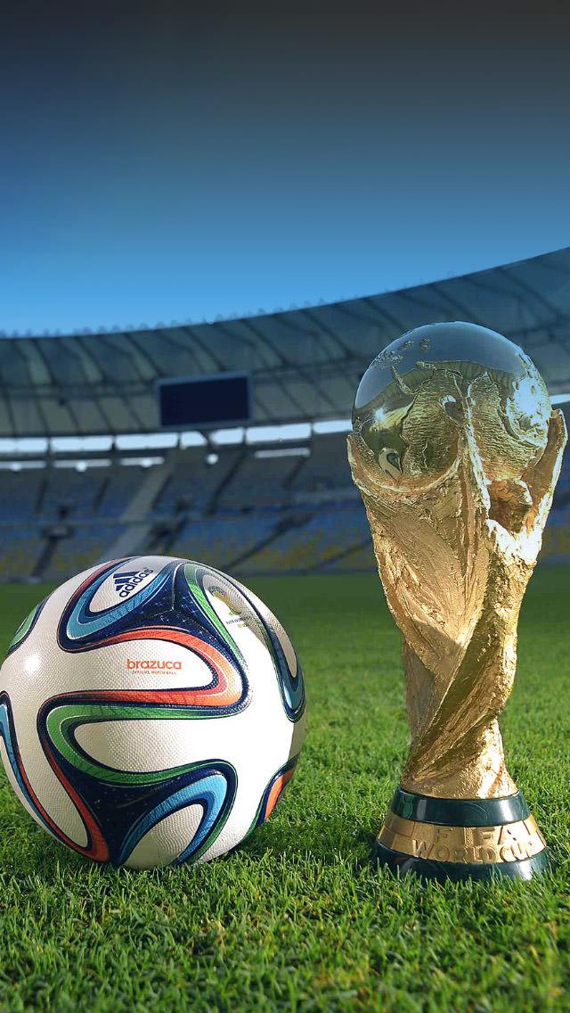 W杯 トロフィーとサッカーボール iPhone5 スマホ用壁紙
