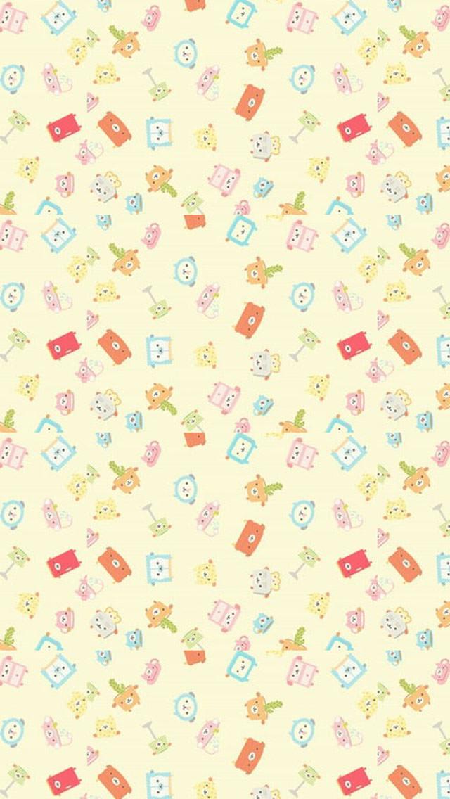 かわいい動物のイラスト iPhone5 スマホ用壁紙